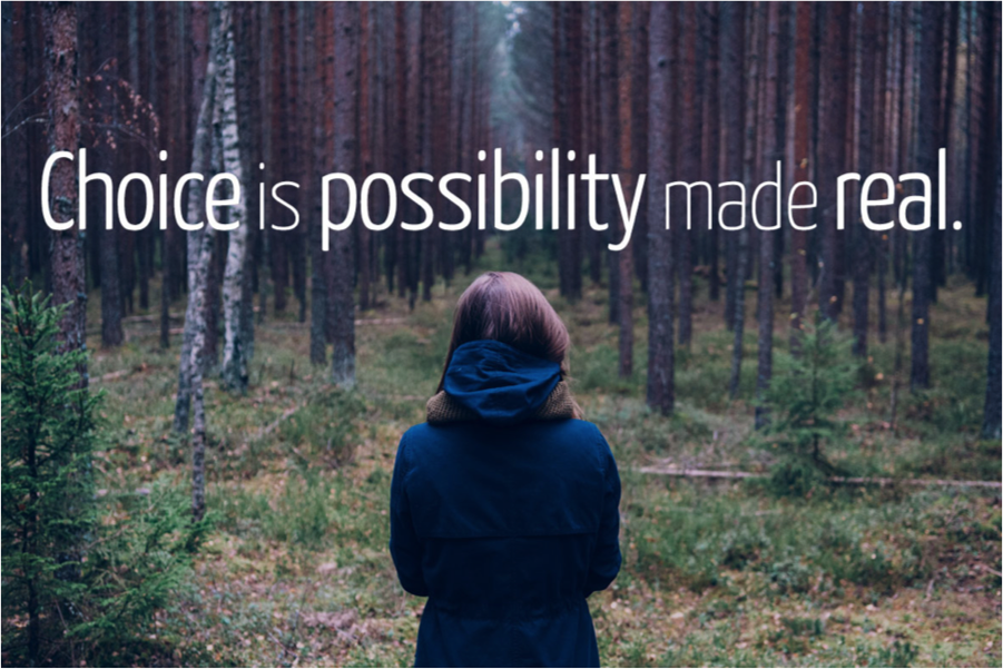 change is possibility made real girl looking into woods and path through trees